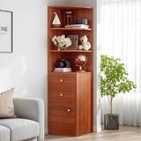 Latitude Run® Home Corner Display Cabinet Rack w/ 2 Drawers 1 Door Open Storage & 3 Tier Shelves (White) Wood in Brown/Yellow | Wayfair