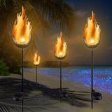 Arlmont & Co. Garden Solar Lights Pathway Outdoor Crackle Glass Globe Stake Metal Lights,Waterproof Warm White LED Set Of 2   Wayfair