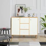Corrigan Studio® Modern Large-Capacity Kitchen Sideboard, Bookcase Storage Cabinet Wood in Brown/Green, Size 31.5 H x 31.5 W x 11.8 D in | Wayfair