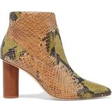Helia Snake-effect Leather Ankle Boots Animal Print - Brown - Ulla Johnson Boots