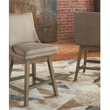 Signature Design by Ashley Furniture Barstools & Stools Beige - Beige Tallenger Upholstered Swivel Barstool - Set of Two