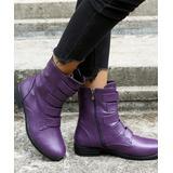 NANIYA Women's Casual boots PURPLE - Purple Top-Strap Low-Heel Ankle Boot - Women