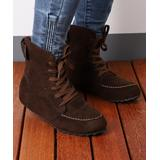 RXFSP Women's Casual boots Coffee - Coffee Strap-Accent Suede Lace-Up Ankle Boot - Women