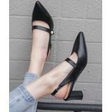BUTITI Women's Pumps Black - Black Pointed-Toe Square-Heel Slingback - Women