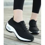 KaLUsen Women's Running Shoes black - Black & White Platform Sneaker - Women