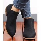 RXFSP Women's Casual boots Black - Black Perforated Pointed-Toe Leather Bootie - Women