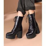 BUTITI Women's Casual boots Black - Black Patent Platform Combat Boot - Women