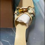 Gucci Shoes | Gucci Canvas Open Toe Slip On Heel Sandal Bamboo | Color: Green/White | Size: 9.5