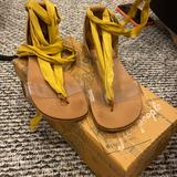 Free People Shoes | Free People Size 38 Lace Up Sandal | Color: Brown/Yellow | Size: 387.5
