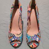 Nine West Shoes | Multicolor Platform Peep Toe Heels | Color: Blue | Size: 10