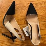 Zara Shoes | Nwt Zara Sling Back Heels | Color: Black/Cream | Size: 11