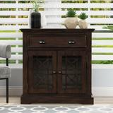 Rosalind Wheeler Arius Retro Storage Cabinet Wih Doors & Big Wood Drawer, Home Office Furniture Storage Chest Wood in Brown/Green | Wayfair