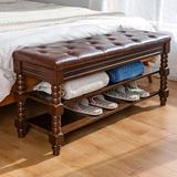 Canora Grey Shoe Bench, Storage Rack Organizer w/ Cushion, 3-Tier Shoe Rack For Entryway, w/ Seating Soft Leather Cushion in Brown   Wayfair