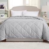 Latitude Run® Lightweight Down Alternative w/ Satin Trim Bed Blanket Gibraltar Collection in Blue, Size Twin   Wayfair