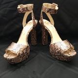 Jessica Simpson Shoes | Jessica Simpson Snakeskin Heels W Ankle Strap | Color: Black/Tan | Size: 7