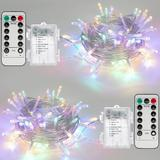 The Holiday Aisle® 2 Pack 16.4Ft Battery Operated String Lights w/ Remote Timer Waterproof 8 Modes String Lights For Indoor & Outdoor Decorations