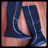 Gucci Shoes   Gucci Black Leather Flat Boots Knee High Gold Zip   Color: Black/Gold   Size: 7