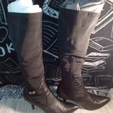 Nine West Shoes | Nine West Black Heeled Knee High Boots | Color: Black | Size: 6.5