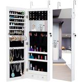 ihometea.com Fashion Simple Jewelry Storage Mirror Cabinet w/ Led Lights Can Be Hung On The Door Or Wall Wood/Plastic in White   Wayfair W40718046