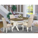 August Grove® BA 5 Pieces Dining Set in, 5 Wood/Upholstered Chairs in Brown/White, Size 30.0 H in | Wayfair BF75AD79BD5E45608153DA19EFD0AB54