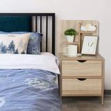 Foundry Select Nightstand w/ Storage Shelf & 2 Drawers In Black Wood in Brown/Green, Size 29.5 H x 15.7 W x 14.6 D in | Wayfair