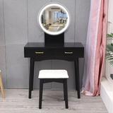 Corrigan Studio® LED Mirror Makeup Vanity Dressing Table Set w/ Stool Dimmable Vanity Set Wood in Brown/Green, Size 11.8 H x 34.3 W x 18.9 D in