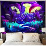 East Urban Home Trippy Smoke Mushroom Tapestry Wall Hanging Psychedelic Hippie Space Nature Landscape Tapestries Purple Starry Night Mountain Forest Art Decor Black L