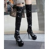 BUTITI Women's Casual boots Black - Black Stiletto Knee-High Boot - Women