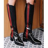 YOUTHJUNE Women's Casual boots Black - Black & Red Stripe Patent Leather Riding Boot - Women