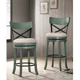 Furniture of America Barstools & Stools Antique - Antique Green & Beige Oshae Counter-Height Barstool - Set of 2