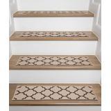 World Rug Gallery Indoor Rugs Brown - Beige & Brown Quatrefoil Non-Slip Stair Tread Set