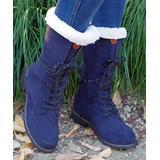 YASIRUN Women's Casual boots Blue - Blue Fleece-Accent Combat Boot - Women