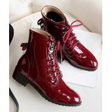 BUTITI Women's Casual boots Red - Red Patent Combat Boot - Women