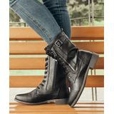 ROSY Women's Casual boots Black - Black Combat Boot - Women