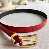 Nine West Accessories   Nine West Red Leather Belt, Gold Tone Hard   Color: Gold/Red   Size: 1 X 36.5