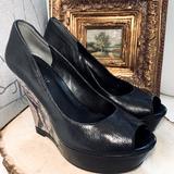 Nine West Shoes   Nine West Dixon Platform Peep Toe Leather Wedges   Color: Black/Tan   Size: 7.5