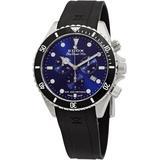 Skydiver 70s Chronograph Quartz Blue Dial Watch 3nca Bui - Blue - Edox Watches