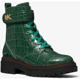 Stark Crocodile Embossed Leather Combat Boot - Green - Michael Kors Boots