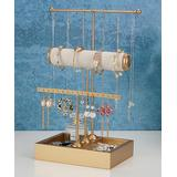 Gurney Rack Jewelry Boxes and Organizers gold - Goldtone T-Shape Three-Tier Jewelry Stand