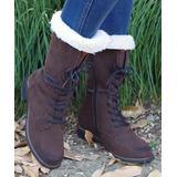 YASIRUN Women's Casual boots Brown - Brown Fleece-Accent Combat Boot - Women