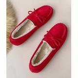 Senbay Women's Casual boots Red - Red Bow-Accent Wedge Slipper - Women
