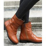 NANIYA Women's Casual boots BROWN - Brown Top-Strap Low-Heel Ankle Boot - Women