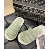 Senbay Women's Slippers Green - Green Plush Open-Toe Slipper - Women
