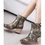 NANIYA Women's Casual boots GOLD - Gold Snake-Embossed Low-Heel Ankle Boot - Women