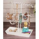 Gurney Rack Jewelry Boxes and Organizers white - White Dual T-Shape Jewelry Stand