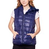 Women's Be Boundless Soft Touch Hooded Reversible Puffer & Faux-Fur Vest, Size: Large, Blue