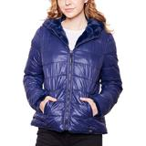 Women's Be Boundless Hooded Reversible Puffer & Faux-Fur Jacket, Size: Small, Blue