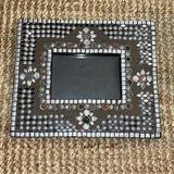 Anthropologie Accents   Made In India Beaded Picture Frame   Color: Brown/Silver   Size: Os