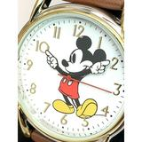 Disney Accessories   Disney Mickey Mouse Women'S Watch White Dial   Color: Brown/White   Size: 34.5 Mm