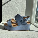 Free People Shoes | Corso Como Fairen Platform Blue Suede Wedge Sandal | Color: Blue | Size: 7